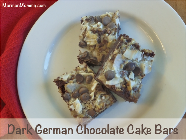Dark German Chocolate Cake Bars