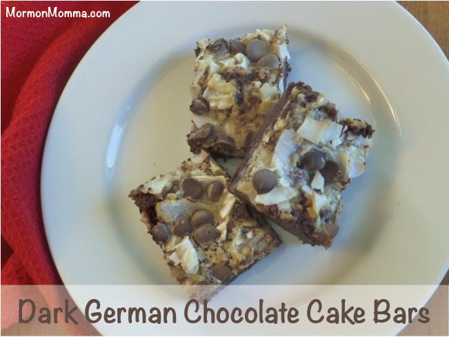 Dark German Chocolate Cake Bars